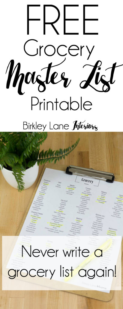 Grocery master list, Grocery list, shopping list, organized shopping list, organized grocery list, Master grocery list, Printable grocery list