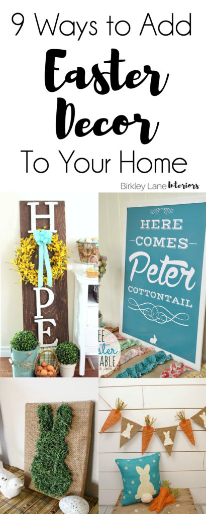 Want some stylish ways to add some Easter decor to your home? Click here for nine ideas that will get your home ready for the holiday! Easter decorations, Easter crafts, Easter ideas, Easter decor, Easter decorations diy, easter decorations ideas, easter centerpieces, easter wreath, easter outdoor decor, easter printables, free easter printables
