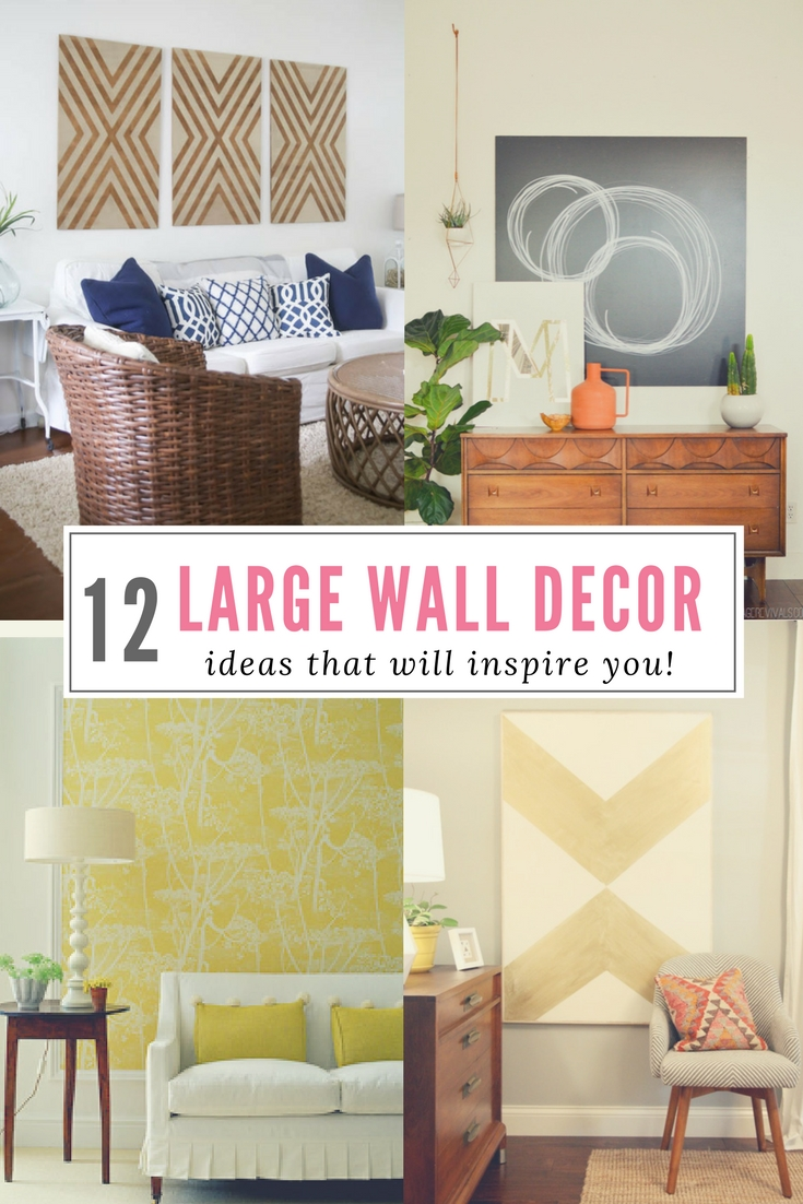 Do you have a big, blank wall you don't know how to decorate? Click here for 12 affordable ideas for large wall decor! You're house will thank you!