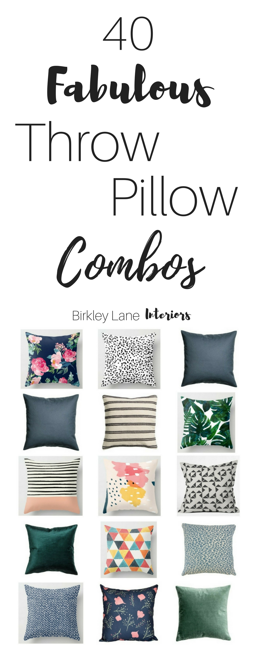 Need some throw pillow inspiration?  Click here for 40 fabulous throw pillow combination ideas that will definitely add style and interest to any room!