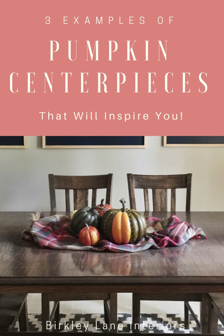 Looking for a simple and inexpensive fall tablescape idea?  I've created three easy, DIY pumpkin centerpieces using things you already have around your home!  They would look great on your table as Thanksgiving decorations as well! #fall #pumpkin #tablescape #centerpiece #diy #thanksgiving