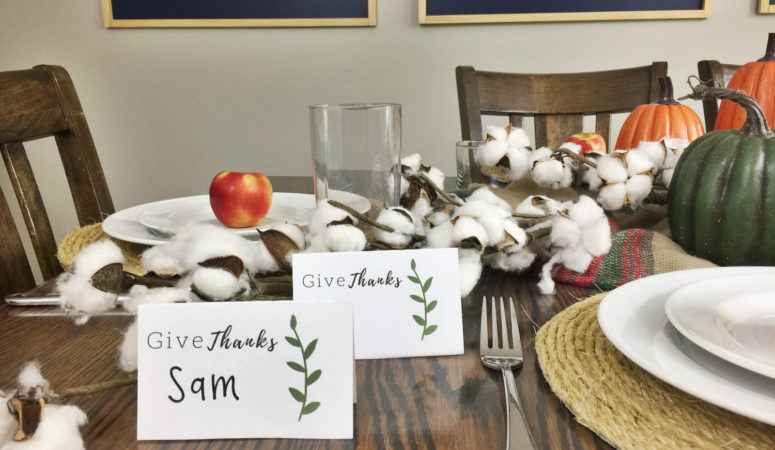 Top off your Thanksgiving tablescape with these elegant place card printables! Click here to download your free template and simply add names!