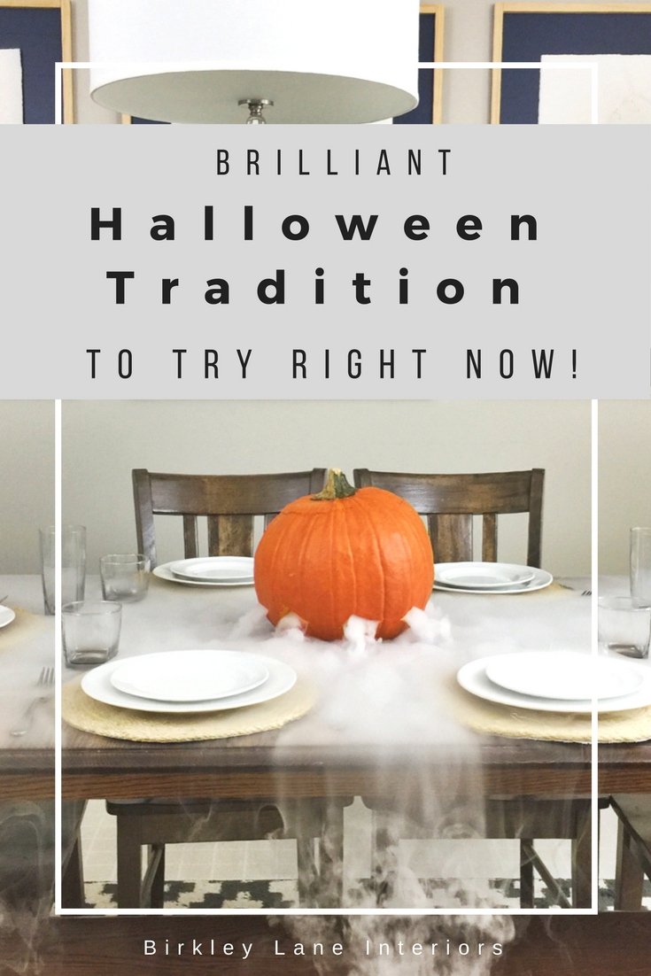 Stop here for the BEST Halloween idea you've seen all year!  This is the perfect family friendly Halloween party idea: make a spooky jack-o-lantern by adding dry ice and watch your table get covered in fog!  Guaranteed to be a BIG hit and your new favorite family halloween tradition! #halloween #pumpkin #diy #tablescape #halloweenparty #familytradition