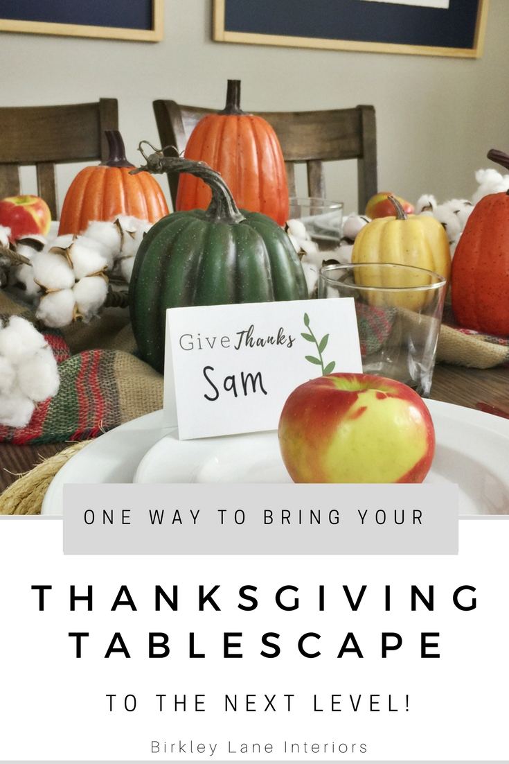 Top off your Thanksgiving tablescape with these elegant place card printables!  Click here to download your free template and simply add names! #thanksgiving #diy