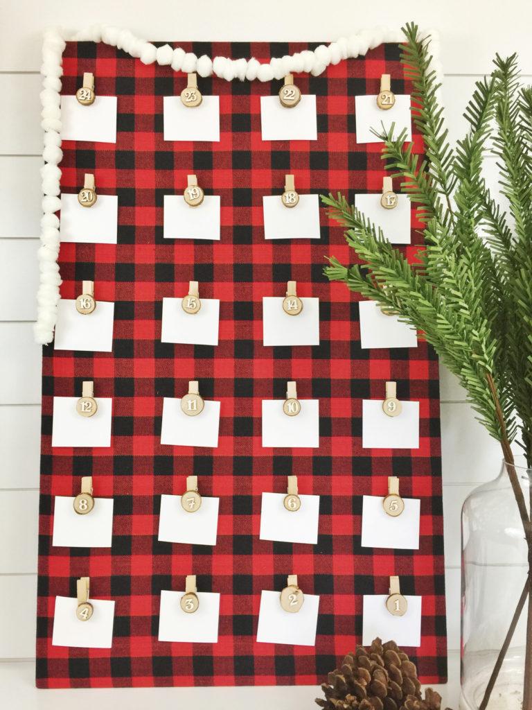 Christmas Countdown Ideas.Diy Advent Calendar Buffalo Plaid Birkley Lane Interiors