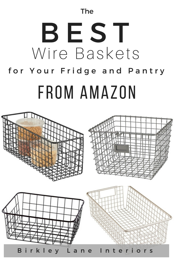 I have found the BEST wire baskets for organizing!  Use my favorite refrigerator organization hacks to keep your fridge and pantry shelves easy to access with these amazing baskets!  #birkleylaneinteriors #fridge #organizedfridge #basketsfororganizing #baskets #wirebaskets #shoppingguide #hacks #cleaning