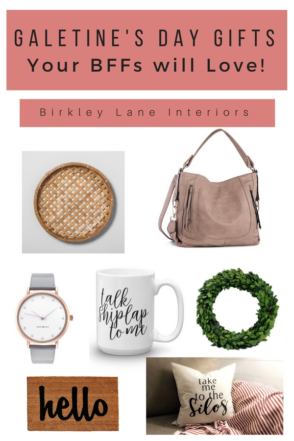 Stop here for the ultimate list of Galentine's Day gifts for her!  Your BFFs will love these fun Galentine's Day ideas!  From farmhouse home decor to stylish accessories, this shopping guide is full of affordable, cute Valentine's Day gifts for friends!  #birkleylaneinteriors #galentinesday #valentinesday #galentinesdaygifts #valentinesdaygiftsforfriends #shoppingguides #giftidesforher