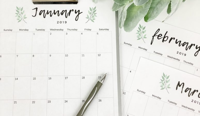 photograph relating to Calendars Printable Free titled Totally free Printable 2019 Calendar Birkley Lane Interiors